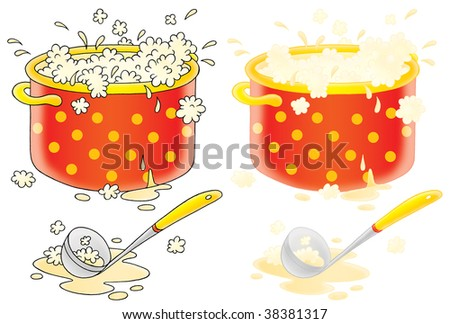 Cooking soup and ladle (color and black contours)