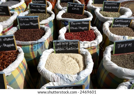 Shutterstock cooking spices for sale on a market stall Marigot St Martin leeward islands lesser antilles eastern caribbean west indies