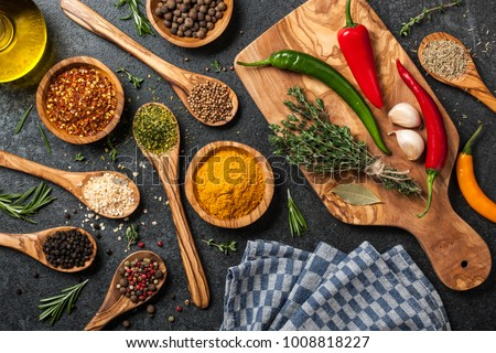 Cooking table with spices and herbs #1008818227