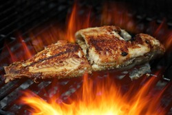 Cooking Talapia fish on the grill with beautiful flame
