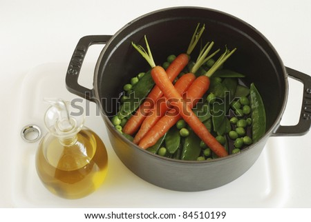 Cooking the vegetables in a casserole dish