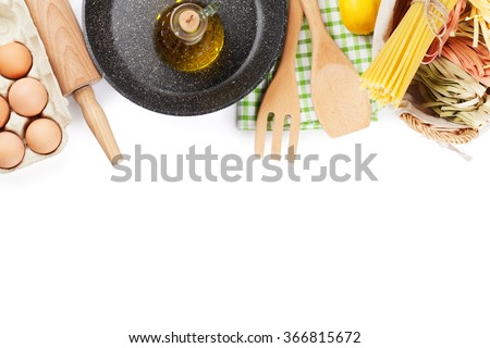 Cooking utensils and ingredients. Isolated on white background