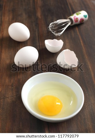 Cooking, whisk with eggs in a bowl and egg shells