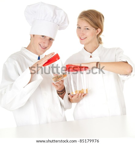 cooks team in white uniforms with plastic boxes, white background, series