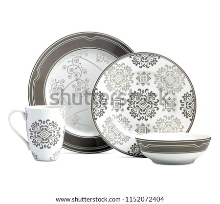 cookware set, Dishware set isolated on white background, Antique black cookware set
