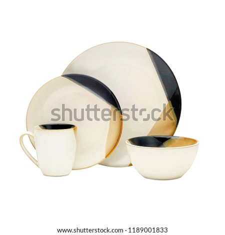 cookware set, Dishware set isolated on white background, Antique black cookware set, Concept of restaurant, cooking and service.