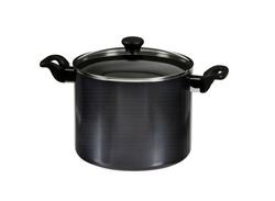 cookware set, steel dinner set isolated on white background, black metal  kitchenware set, tableware set