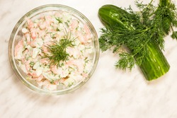 Cool and creamy shrimp salad with dill.