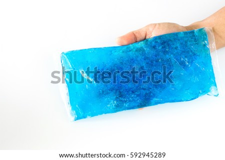 cool and hot pack gel in hand with copy space .pain relief. Stock photo ©
