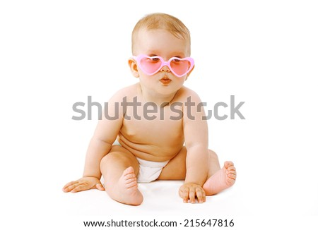Cool baby in pink glasses #215647816