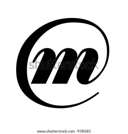 Cool black beveled or flat modern letters of alphabet m