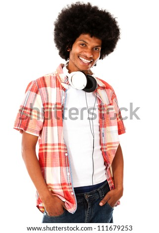 Cool black man with headphones - isolated over a white background