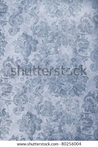 cool blue distressed retro floral wallpaper