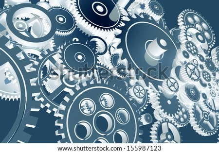 Cool Blue Gears Design. Technology Gears Background Design.
