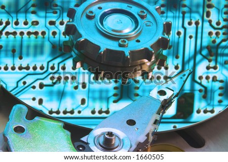 Cool Blue Hard Drive Reflecting Circuit board