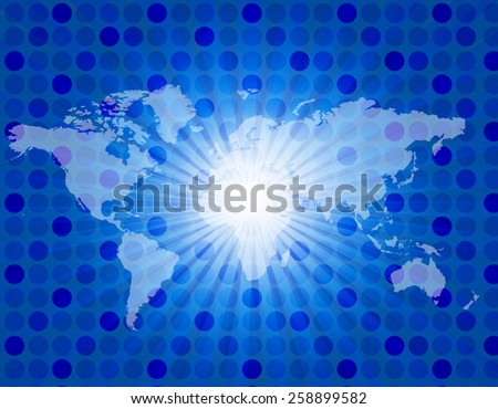 Cool blue retro star-burst background with world map
