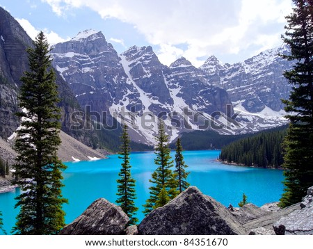Cool blue water of Moraine Lake in Banff National Park, Canada