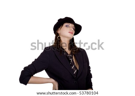 Cool business woman wearing a mens tie