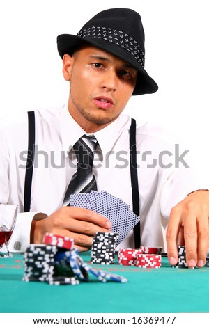 Cool Card Player Young man playing poker with a hat and stylish suit. Isolated over white background.