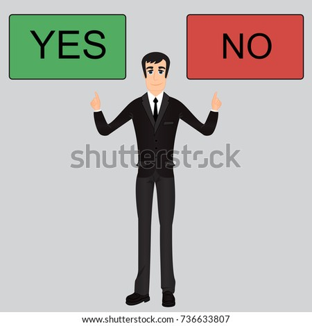 cool caucasian businessman character confused between yes or no flat cartoon design illustration