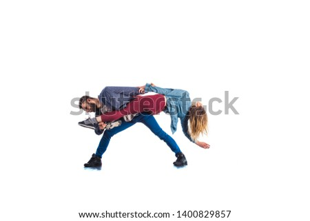 Cool couple is training aerobic on white background