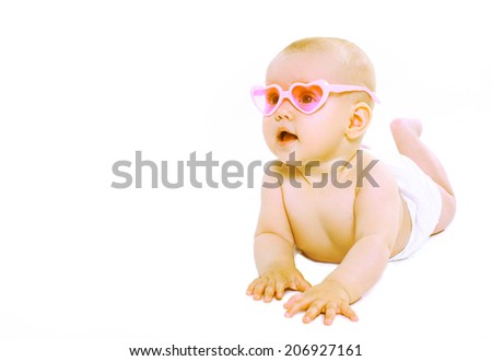 Cool cute baby in pink glasses #206927161