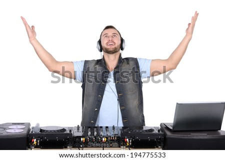 Cool DJ at work Happy young men spinning on turntable while isolated on white