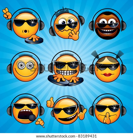 Cool DJ Smileys. Variety funny Deejay Faces for your icons, avatars, logos.