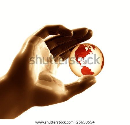 Cool futuristic metal silver hand playing with the globe world