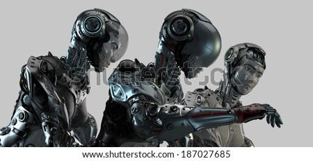 Cool futuristic robotic trio
