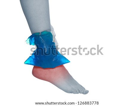 Cool gel pack on a swollen hurting ankle. Medical concept photo. Isolation on a white background. - stock photo