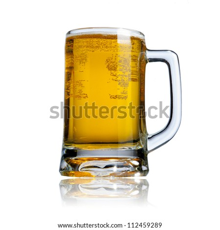 Cool glass of beer isolated on white background - stock photo