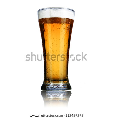 Cool glass of beer isolated on white background