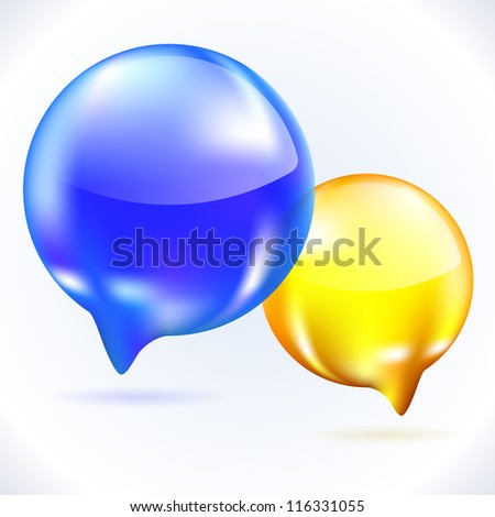 Cool Glass speech bubbles isolated on white. Illustration