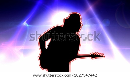 Cool guitarist in the baseball cap playing the electric guitar on a glowing blue background #1027347442