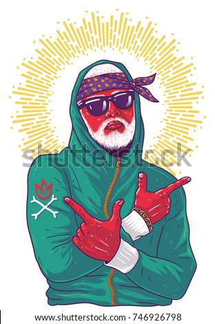 Cool guy rapper shows arms guns. Image for print on T-shirts and souvenirs. Hip hop dancer tattoo. Gangster with white beard. Cover for rap album. High resolution image on white background
