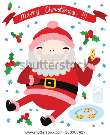 Cool Happy Santa Eating Cookies with Merry Christmas Banner | EZ Canvas