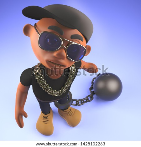 Cool hip hop rapper dude held back by a ball and chain, 3d illustration render