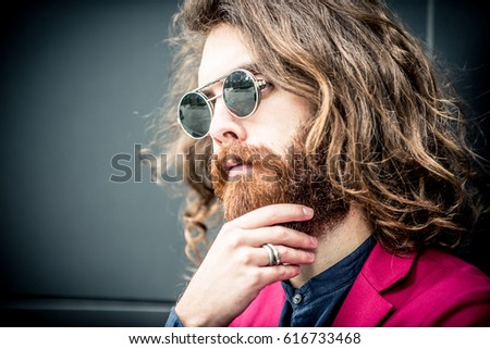Cool hipster portrait #616733468