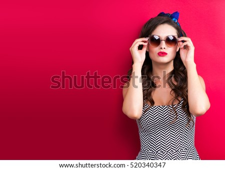 Cool hipster student woman wearing eyewear glasses . Caucasian female university student looking at camera smiling happy #520340347