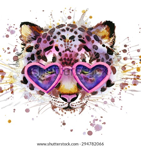 Cool leopard T-shirt graphics. leopard illustration with splash watercolor textured  background. unusual illustration watercolor leopard for fashion print, poster, textiles, fashion design