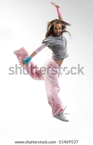 cool looking dancer posing on a white background