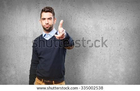 cool man doing a gun gesture #335002538