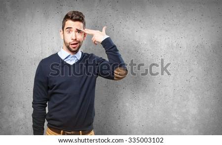 cool man doing a suicide symbol #335003102
