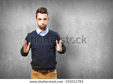 cool man holding symbol #335012783