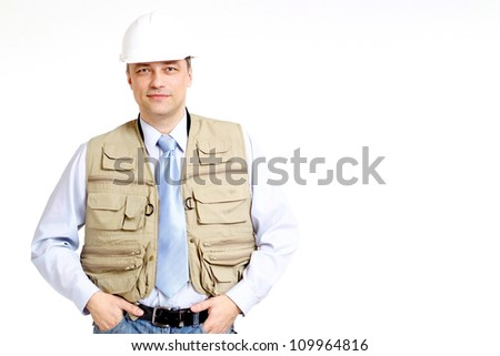 Cool man working in the construction helmet