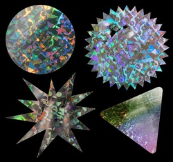 cool metallic holo stickers on black with scratches and cuts, sticky holographic iridescent color foil tapes or snips for your design poster.