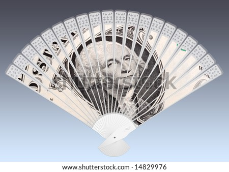 Cool money:  A close up of the George Washington, first American President, on the One Dollar Bill depicted on a folding fan.