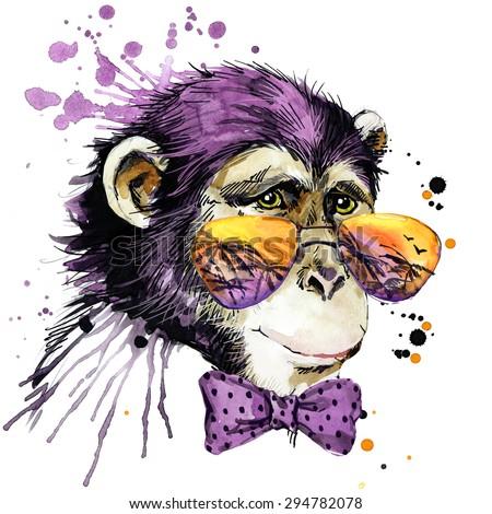 Cool monkey chimpanzee T-shirt graphics, monkey illustration with splash watercolor textured background. unusual illustration watercolor monkey for fashion print, poster for textiles, fashion design