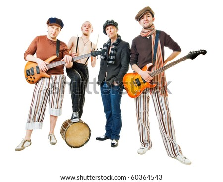 cool musical band isolated on white background